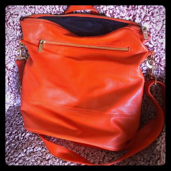 Neiman Marcus Handbags - Neiman Marcus Orange and Blue boho tote bag